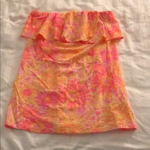 Unique lily pulitzer Wiley ruffle tube top